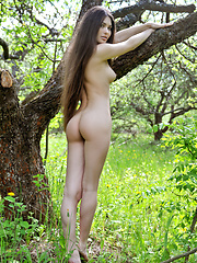 Admirable dark haired teen showing imposing boobs and holes in the lake and in the woods.