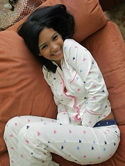 Karla looks hot and has some fun while taking her PJ's off