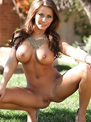 Brunette babe Madison Ivy strips off her dress exposing her tight body outside.